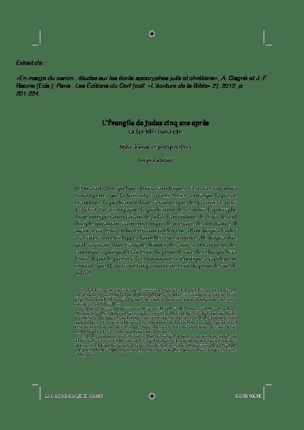 Debut De L Ecriture De La Bible : debut, ecriture, bible, (PDF), Lvangile, Judas, (re)dcouverte., Perspectives., Serge