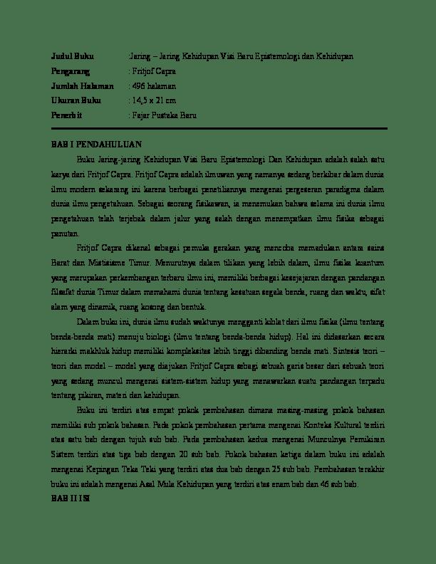 Pengertian Jaring Jaring Kehidupan : pengertian, jaring, kehidupan, Jaring-Jaring, Kehidupan, Epistemologi, Sunandar, Academia.edu