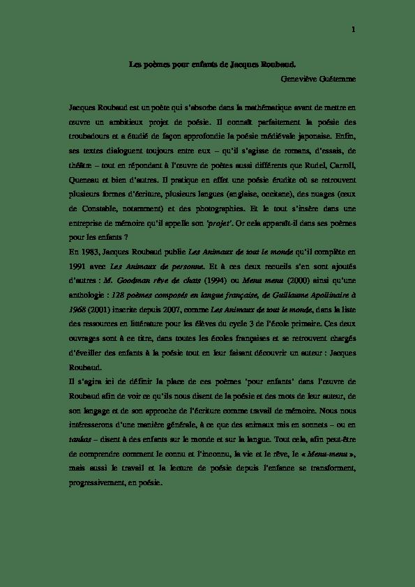 Le Lombric De Jacques Roubaud : lombric, jacques, roubaud, Poèmes, Enfants, Jacques, Roubaud., Genevieve, Guetemme, Academia.edu