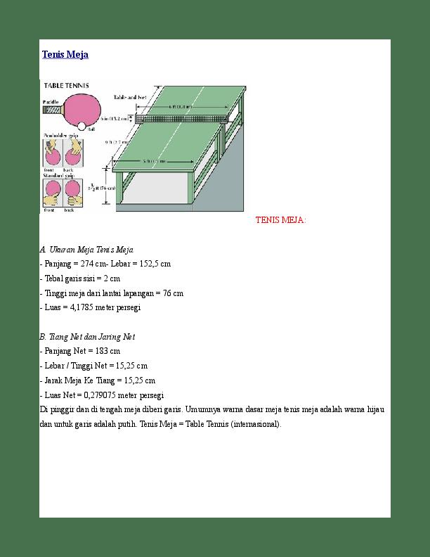 Panjang Tenis Meja : panjang, tenis, TENIS-MEJA-A-Ukuran-Meja-Tenis-Meja, Pinky, Academia.edu