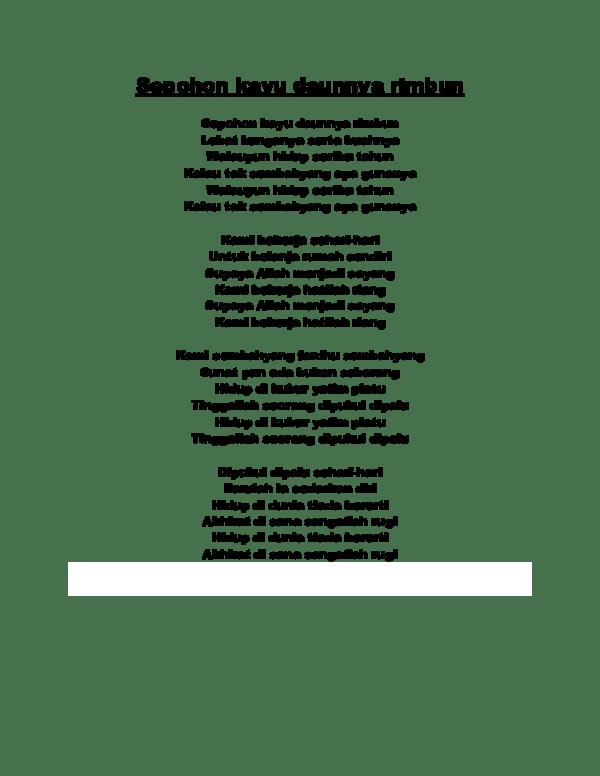 Lirik Sepohon Kayu : lirik, sepohon, Sepohon, Daunnya, Rimbun, Asyikin, Academia.edu