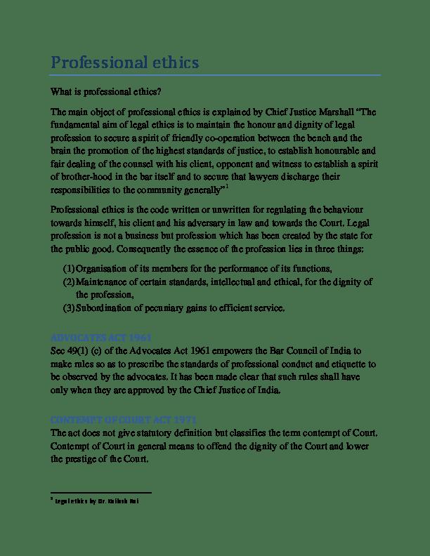 Pdf Professional Ethicslegal Ethics By Dr Kailash Rai Dhaaranee Naidu Academia Edu