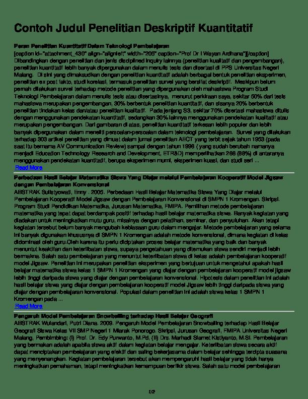 Contoh Skripsi Deskriptif : contoh, skripsi, deskriptif, Contoh, Judul, Penelitian, Deskriptif, Kuantitatif, Rufisa, Academia.edu