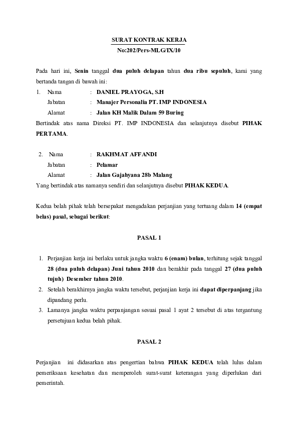 Surat Perjanjian Kerja Doc : surat, perjanjian, kerja, 45566491, Contoh, Kontrak, Kerja, Ahmad, Academia.edu