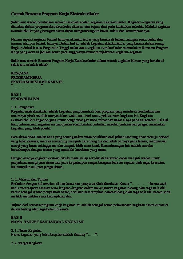 Contoh Program Kerja Ekstrakurikuler Olahraga : contoh, program, kerja, ekstrakurikuler, olahraga, Contoh, Rencana, Program, Kerja, Ekstrakurikuler, Majid, Kalideres, Academia.edu