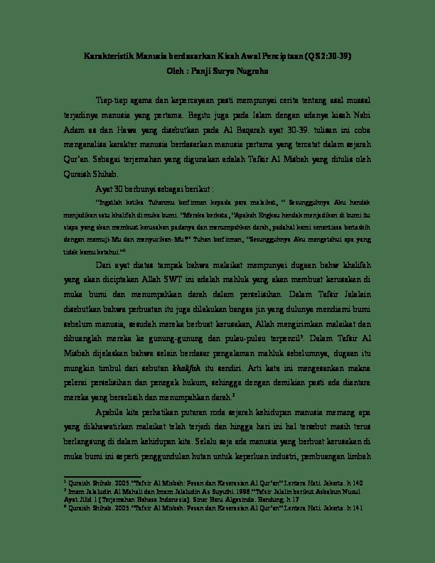 Qs Al Baqarah Ayat 30 Beserta Artinya : baqarah, beserta, artinya, Karakteristik, Manusia, Berdasarkan, Kisah, Penciptaan, 2:30-39), Panji, Suryo, Nugroho, Academia.edu