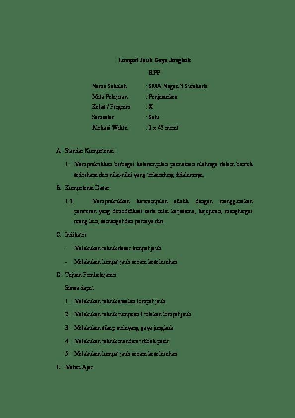 Cara Lompat Jauh Gaya Jongkok : lompat, jongkok, Lompat, Jongkok, Sekolah, Negeri, Surakarta, Pelajaran, Penjasorkes, Kelas, Program, Semester, Alokasi, Waktu, Menit, Academia.edu