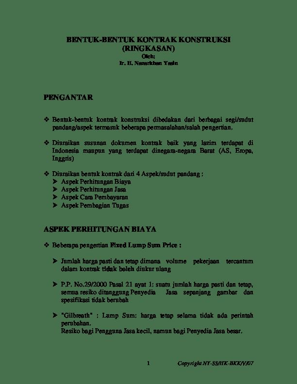 Contoh Dokumen Kontrak Proyek Konstruksi Pdf : contoh, dokumen, kontrak, proyek, konstruksi, BENTUK-BENTUK, KONTRAK, KONSTRUKSI, (RINGKASAN), Dahlya, Nurul, Mawaddah, Santosa, Academia.edu
