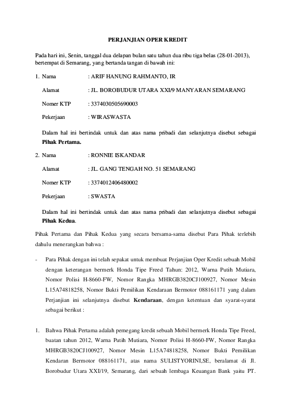 Surat Perjanjian Over Kredit Mobil : surat, perjanjian, kredit, mobil, PERJANJIAN, KREDIT, Handiyono, Academia.edu