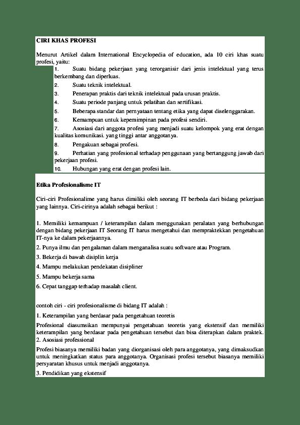 Sebutkan Ciri Ciri Organisasi : sebutkan, organisasi, PROFESI, Baihaki, Academia.edu