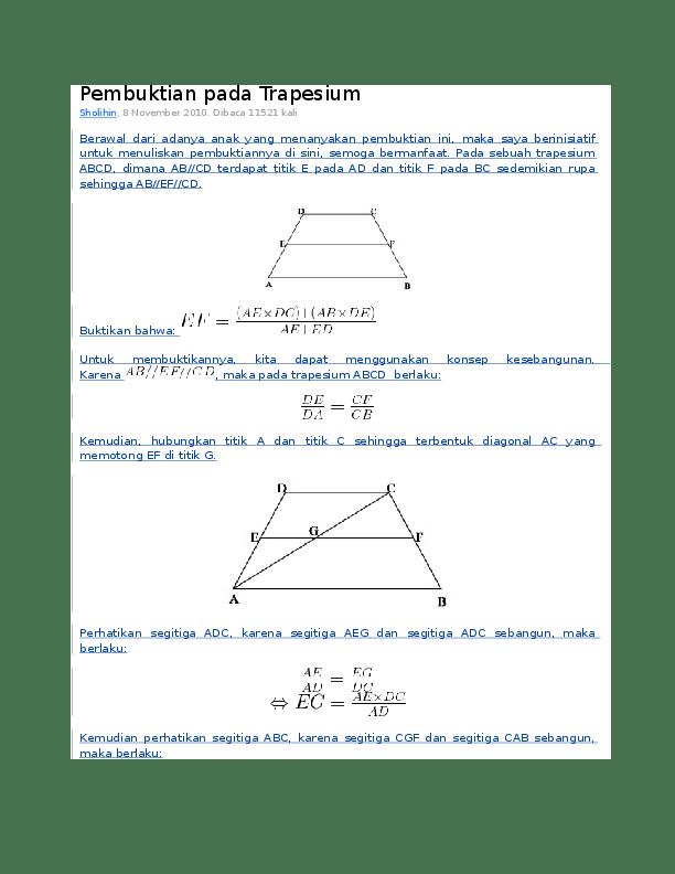 Rumus Kesebangunan Trapesium : rumus, kesebangunan, trapesium, Pembuktian, Trapesium, Urahara, Academia.edu