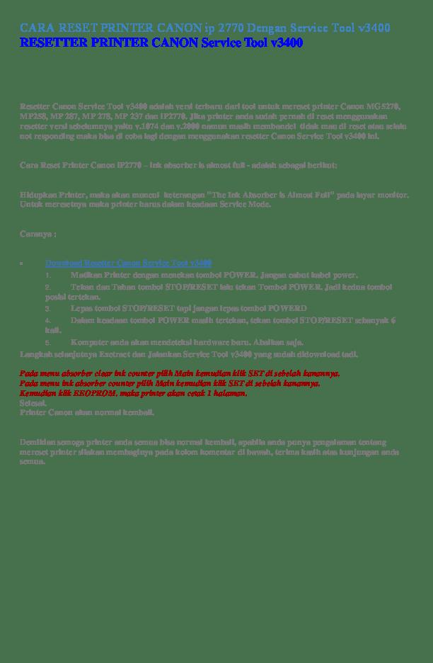 Cara Menggunakan Service Tool V3400 : menggunakan, service, v3400, RESET, PRINTER, CANON, Dengan, Service, V3400, RESETTER, Witarsa, Surjatman, Academia.edu