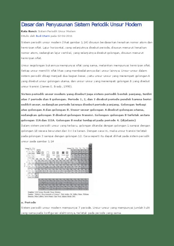 Sistem Periodik Unsur. Pada awalnya unsur hanya