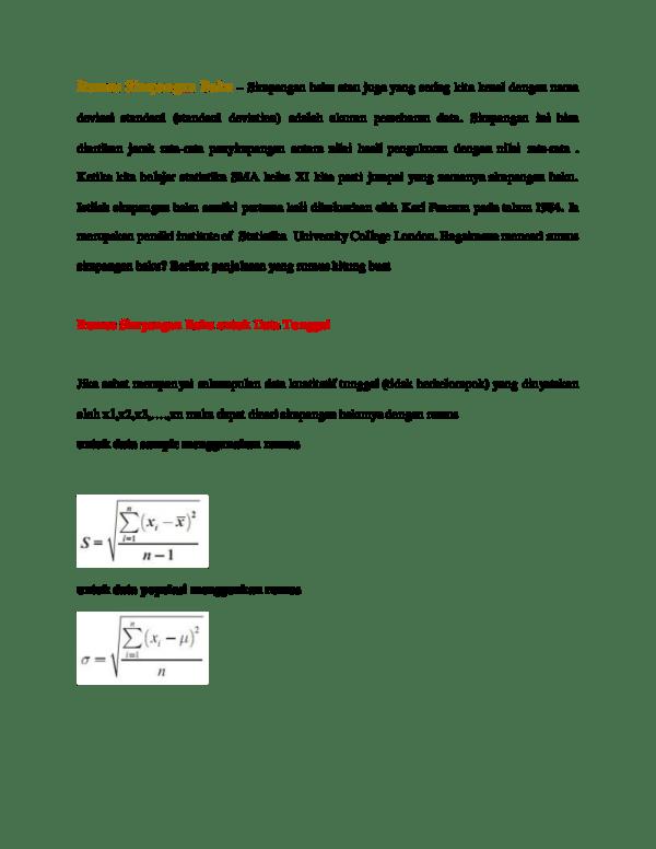 Rumus Simpangan Baku Data Tunggal : rumus, simpangan, tunggal, Rumus, Simpangan, Hamzah, Arfah, Academia.edu