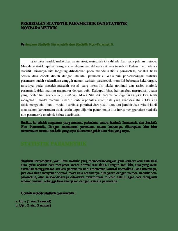 Uji Statistik Parametrik : statistik, parametrik, PERBEDAAN, STATISTIK, PARAMETRIK, NONPARAMETRIK, Ananda, Academia.edu