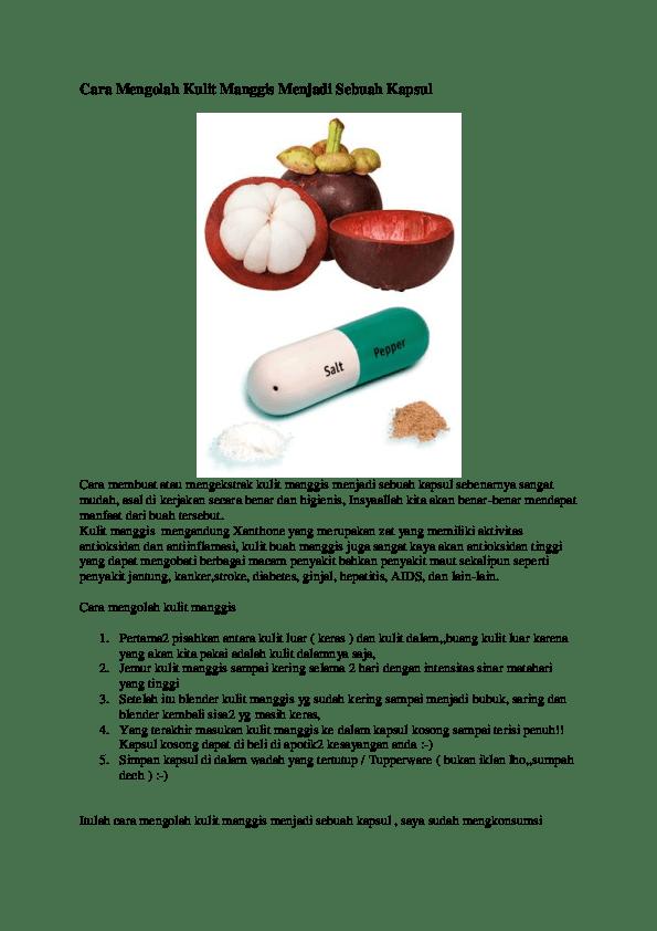Cara Memasak Kulit Manggis : memasak, kulit, manggis, Mengolah, Kulit, Manggis, Menjadi, Sebuah, Kapsul, Cahaya, Gusti, Academia.edu