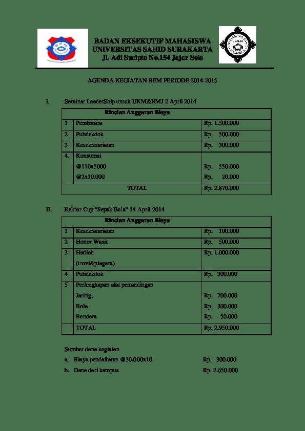 Contoh Rencana Anggaran Biaya Kegiatan : contoh, rencana, anggaran, biaya, kegiatan, Contoh, Rencana, Anggaran, Biaya, Kegiatan, Seminar, Barisan