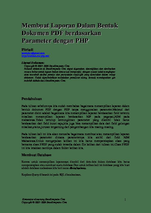 Membuat Laporan Php Dengan Fpdf : membuat, laporan, dengan, Membuat, Laporan, Dalam, Bentuk, Dokumen, Berdasarkan, Parameter, Dengan, Husni, Academia.edu