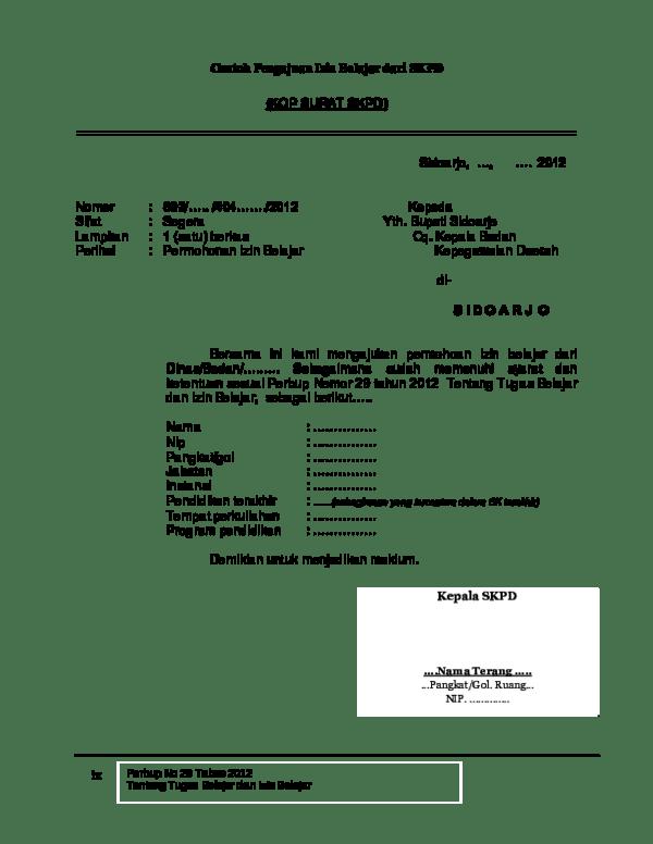 Surat Izin Belajar : surat, belajar, Blanko, Belajar, Nopeko, Academia.edu
