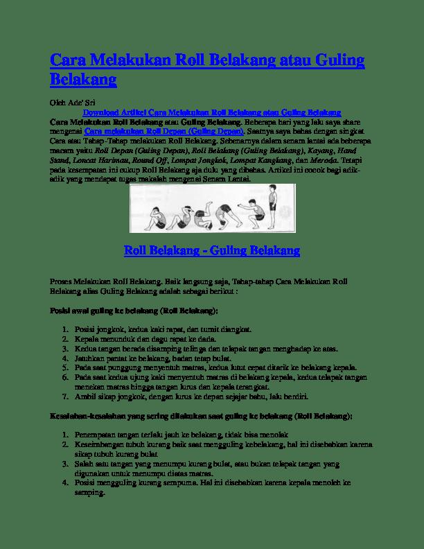 Cara Roll Depan : depan, Melakukan, Belakang, Guling, Supyan, Academia.edu