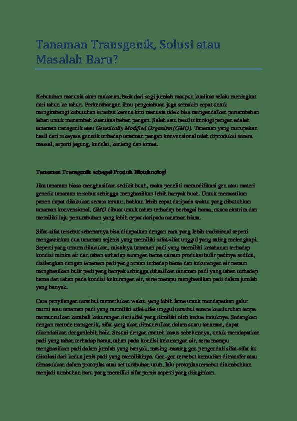 Contoh Tanaman Transgenik : contoh, tanaman, transgenik, Tanaman, Transgenik,, Solusi, Masalah, Baru?, Aprilisa, Academia.edu