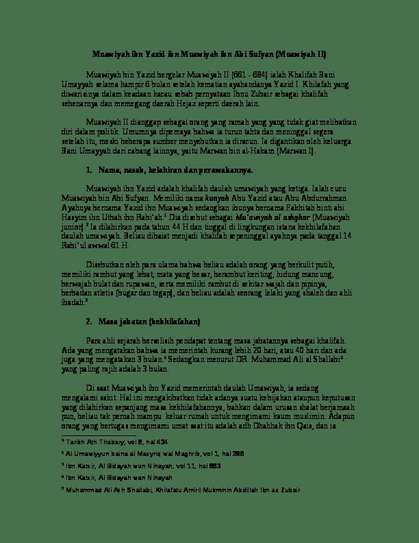 Prestasi Khalifah Marwan Bin Hakam : prestasi, khalifah, marwan, hakam, Muawiyah, Yazid, Sufyan, (Muawiyah, 'iezz, Academia.edu