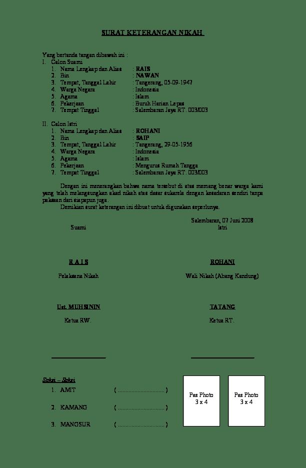 Surat Pernyataan Nikah : surat, pernyataan, nikah, Surat, Keterangan, Menikah, Contoh