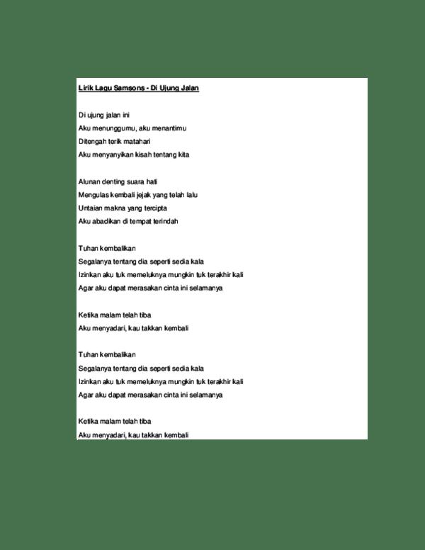 Kunci Gitar Samson Di Ujung Jalan Ini : kunci, gitar, samson, ujung, jalan, Lirik, Samsons, Ujung, Jalan, Indra, Saputra, Academia.edu