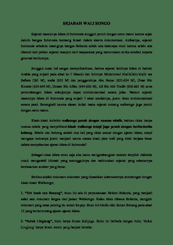 Sejarah Wali Songo Singkat : sejarah, songo, singkat, SEJARAH, SONGO, Sejarah, Masuknya, Mamayukero, Academia.edu