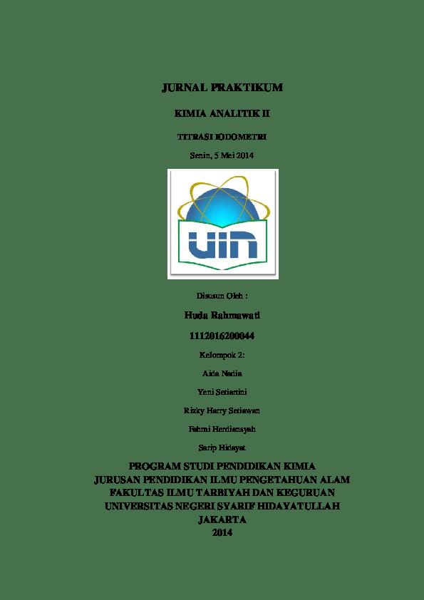Mata kuliah kimia analitik i atau kimia analitik dasar. (PDF) iodometri   huda rahmawati - Academia.edu