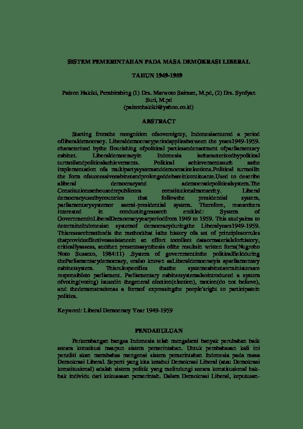 Pada Masa Demokrasi Liberal Bangsa Indonesia Menganut Sistem Pemerintahan : demokrasi, liberal, bangsa, indonesia, menganut, sistem, pemerintahan, SISTEM, PEMERINTAHAN, DEMOKRASI, LIBERAL, TAHUN, 1949-1959, Masdar, Nyoto, Academia.edu