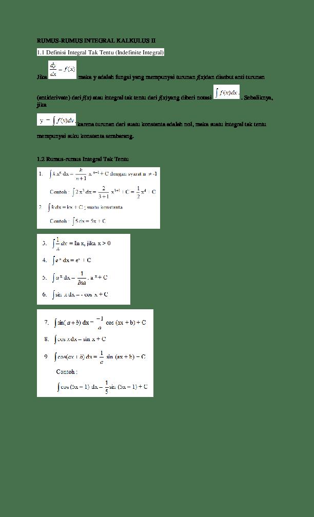 1 inersia 2 f ma dan 3 aksi reaksi beserta contoh soal dan pembahasannya. Doc Rumus Rumus Integral Kalkulus Ii 1 1 Definisi Integral Tak Tentu Indefinite Integral Mamuk Prasetyo Academia Edu