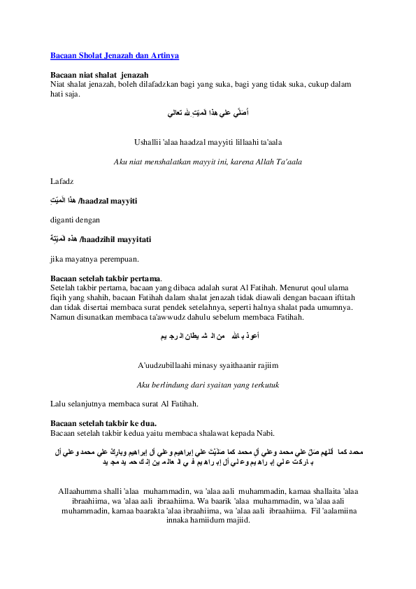 Dalam Shalat Jenazah Shalawat Dibaca Setelah Takbir : dalam, shalat, jenazah, shalawat, dibaca, setelah, takbir, Bacaan, Sholat, Jenazah, Artinya, Kurniadi, Academia.edu