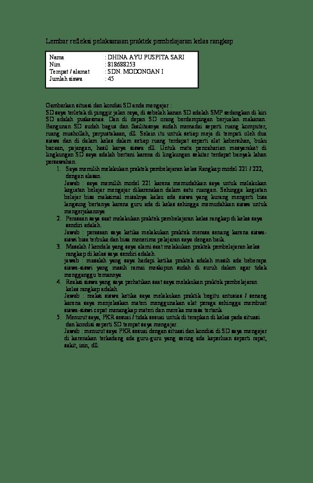 Contoh Lembar Refleksi Pelaksanaan Praktek Pembelajaran Terpadu