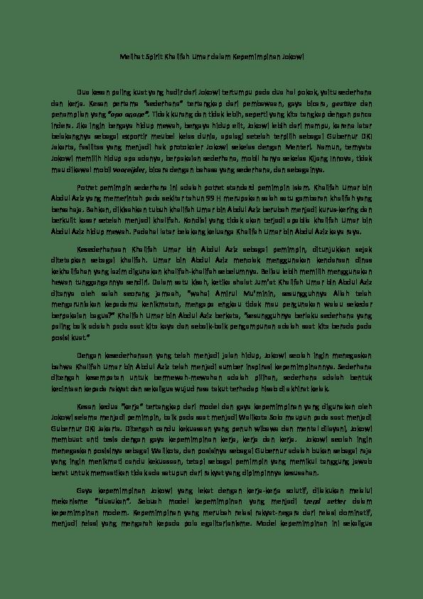Kepemimpinan Umar Bin Abdul Aziz : kepemimpinan, abdul, Khalifah, Umar;, Inspirasi, Jokowi, Mohammad, Academia.edu