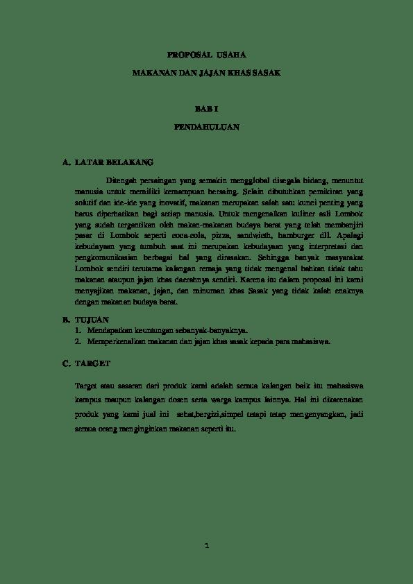 Proposal Makanan Khas Daerah : proposal, makanan, daerah, Proposal, Kewirausahaan, (makanan, Tradisional, Lombok), Rosita, Martini, Academia.edu