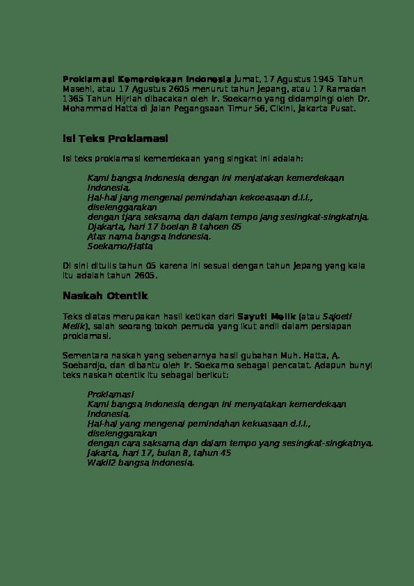 (PDF) Perumusan Teks dan Pelaksanaan Proklamasi
