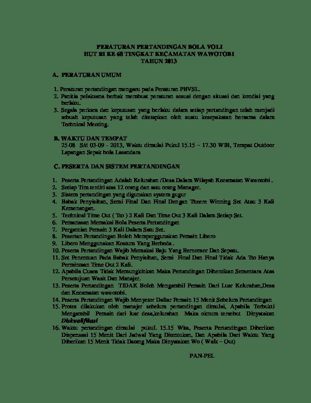 Peraturan Pertandingan Voli : peraturan, pertandingan, PERATURAN, PERTANDINGAN, TINGKAT, KECAMATAN, WAWOTOBI, TAHUN, SUWARDI, Academia.edu