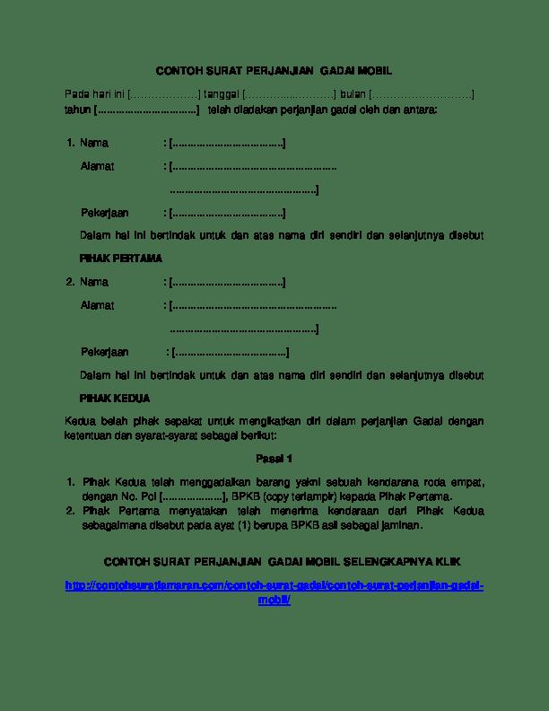 Contoh Surat Perjanjian Gadai Mobil Masih Kredit Yang Sah Cute766