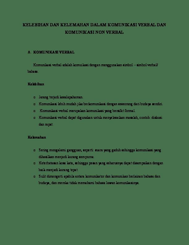 Contoh Komunikasi Non Verbal Dalam Kehidupan Sehari Hari : contoh, komunikasi, verbal, dalam, kehidupan, sehari, KELEBIHAN, KELEMAHAN, DALAM, KOMUNIKASI, VERBAL, Khairuzaman, Academia.edu