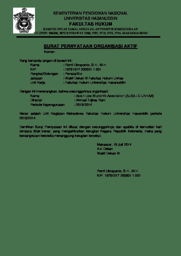 Contoh Surat Keterangan Aktif Kuliah : contoh, surat, keterangan, aktif, kuliah, Surat, Pernyataan, Aktif, Kuliah, Rizky, Wahyuni, Anwar, Academia.edu