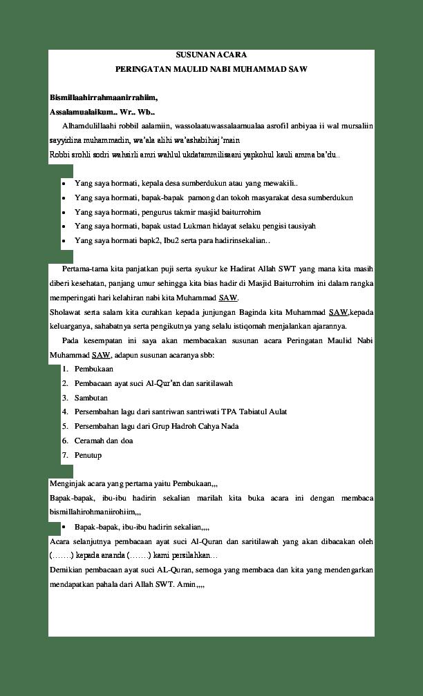 Susunan Acara Maulid Nabi : susunan, acara, maulid, SUSUNAN, ACARA, PERINGATAN, MAULID, MUHAMMAD, Satriyo, Academia.edu