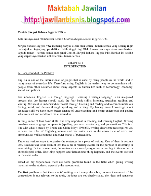 Ptk Bahasa Inggris Smp Pdf : bahasa, inggris, Contoh, Skripsi, Bahasa, Inggris, Bujangan, Merdeka, Academia.edu