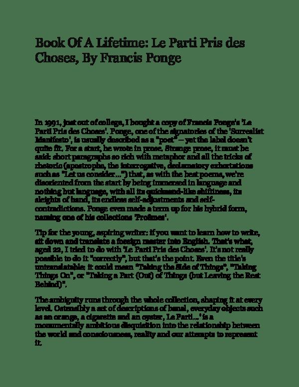 Le Parti Pris Des Choses Pdf : parti, choses, Lifetime:, Parti, Choses,, Francis, Ponge, Hossein, Makizade, Academia.edu