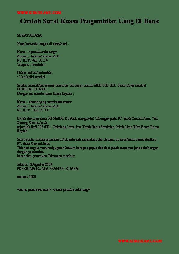 Contoh Surat Kuasa Untuk Mengambil Uang Di Bank Surat 25 ...