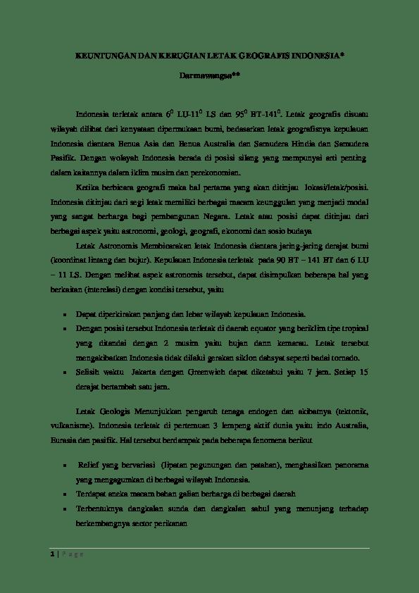 Keuntungan Letak Geologis Indonesia : keuntungan, letak, geologis, indonesia, KEUNTUNGAN, KERUGIAN, LETAK, GEOGRAFIS, INDONESIA, Darmawangsa, Salowong, Academia.edu