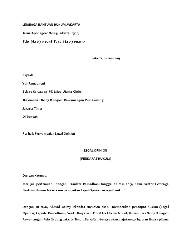 Contoh Legal Opinion Kasus Pidana : contoh, legal, opinion, kasus, pidana, Legal, Opinion, Ahmad, Dalmy, Iskandar, Nasution, Academia.edu