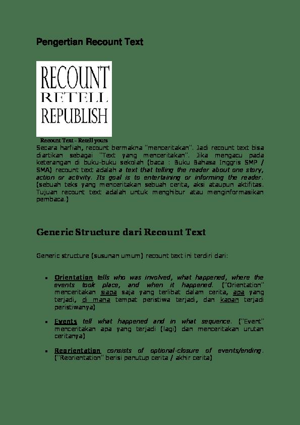 Pengertian Recount : pengertian, recount, Pengertian, Recount, -Retell, Yours, Annisa, Academia.edu
