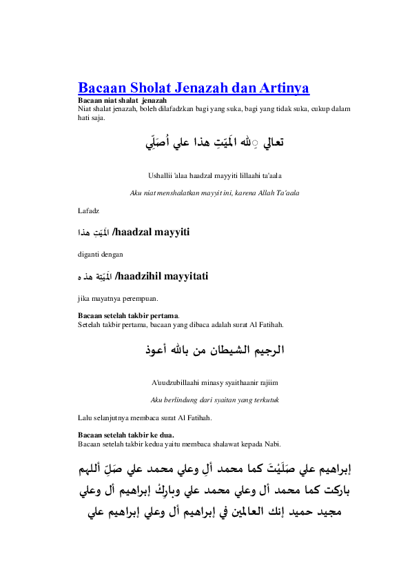 Dalam Shalat Jenazah Shalawat Dibaca Setelah Takbir : dalam, shalat, jenazah, shalawat, dibaca, setelah, takbir, Bacaan, Sholat, Jenazah, Artinya, Wiranto, Academia.edu