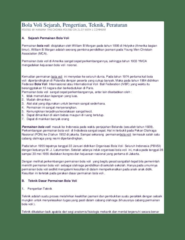 Pengertian Permainan Voli : pengertian, permainan, Sejarah,, Pengertian,, Teknik,, Peraturan, POSTED, HANIFAH, CHOPER, 21.07, COMMENT, Husna, Khairunnisa, Academia.edu